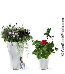 décoratif, fleurs, pelle, jardin, oiseau