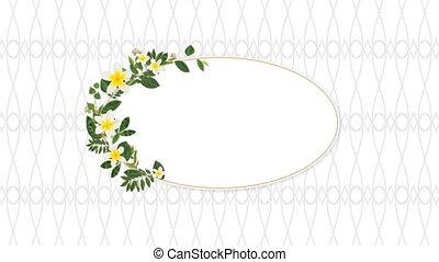 décoratif, fleurs, photo, espace, copie, jaune, cadre
