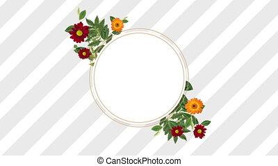 décoratif, fleurs, photo, espace, rouges, copie, jaune, cadre