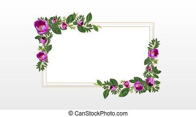 décoratif, fleurs, pourpre, espace, copie, porte-photo