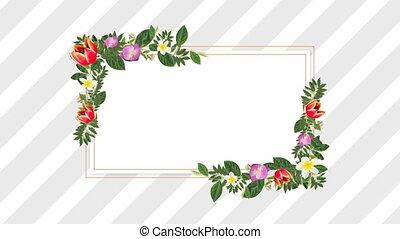 décoratif, fleurs, pourpre, espace, rouges, copie, porte-photo