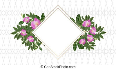 décoratif, fleurs, rose, espace, copie, porte-photo