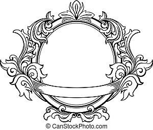 décoratif, floral, cadre, éléments, retro