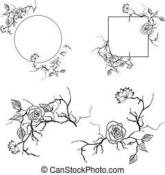 décoratif, floral, cadre, ensemble, frontière