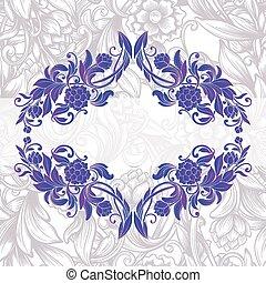 décoratif, floral, cadre, vendange, pourpre