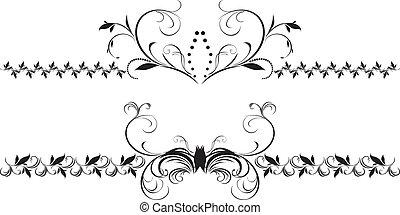décoratif, floral, frontières, deux