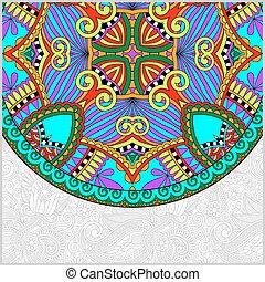 décoratif, floral, gabarit, à, cercle, ethnique, plat,...