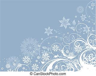 décoratif, floral, hiver, fond