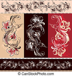 décoratif, floral, ornement, éléments