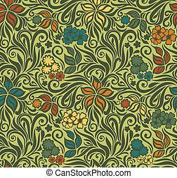 décoratif, floral, retro, fond, seamless