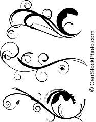 décoratif, flourishes, ensemble, 1