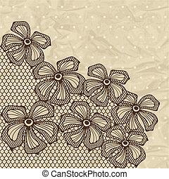 décoratif, flowers., fond, vieux, dentelle