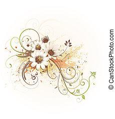 décoratif, fond, floral