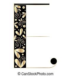 décoratif, forme, e, lettre