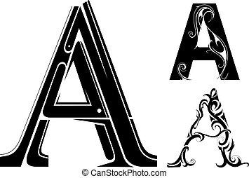 décoratif, forme, lettre