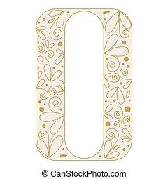 décoratif, forme., o, lettre, police, type