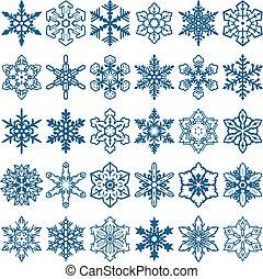 décoratif, formes, vecteur, flocons neige