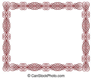 décoratif, frontière, certificat, rouges