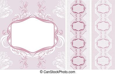 décoratif, frontières, conception, dentelle