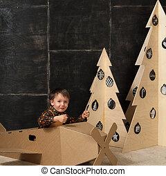 décoratif, garçon, peu, arbres, suivant, noël