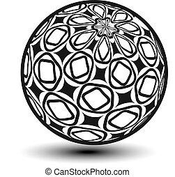 décoratif, globe, -, sphère, vecteur, icône, orbe, symbole, 3d