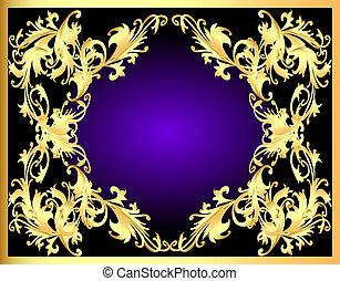 décoratif, gold(en), cadre, modèle fond