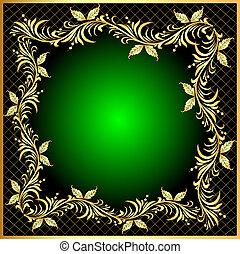 décoratif, gold(en), modèle, cadre, fond, filet