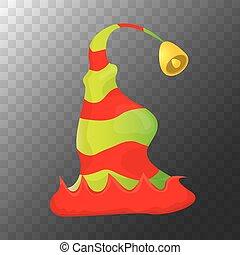 décoratif, gosses, coloré, dépouillé, ou, elfe, isolé, noël, arrière-plan., froussard, vecteur, conception, label., vert, transparent, élément, chapeau, dessin animé, rouges, icône