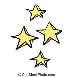 décoratif, griffonnage, étoiles, dessiné, freehand, dessin animé