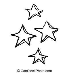 décoratif, griffonnage, noir, étoiles, dessiné, freehand, blanc, dessin animé