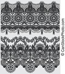 décoratif, gris, collection, seamless, noir, floral, raies, blanc