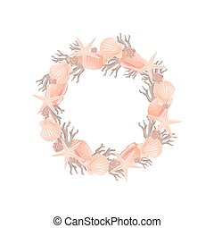 décoratif, gris, illustration., couronne, theme., rose, vecteur, marin
