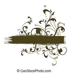 décoratif, grunge, &, résumé, aviateur, conception, bannière florale