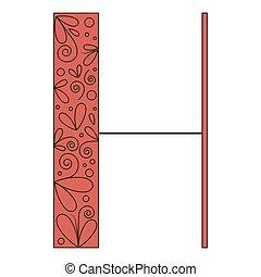 décoratif, h, forme, lettre