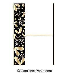 décoratif, h, forme., lettre, police, type