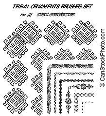 décoratif, hand-drawn, brosses, set., ethnique
