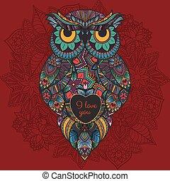 décoratif, hibou, love., owl., tribal., illustration, valentin, illustré, boho, vecteur, coeur, oiseau, jour