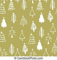décoratif, hiver, modèle, seamless, arrière-plan., arbre., noël