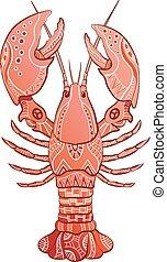 décoratif, homard, isolé