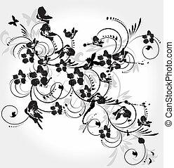 décoratif, illustration, élément, vecteur, stylique floral