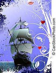 décoratif, image, salutation, petite amie, bateau, jour, carte