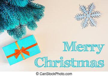 décoratif, inscription, boîte-cadeau, bleu, letters., beau, fond, beige, joyeux, sapin, noël., branch., suivant, flocon de neige
