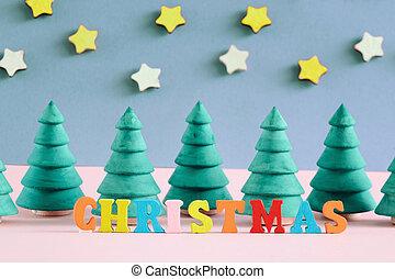 décoratif, inscription, fait, arbres., letters., multi-coloré, petit, noël