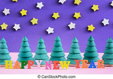 décoratif, inscription, fait, coloré, arbres., letters., année, petit, nouveau, noël, heureux