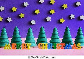 décoratif, inscription, fait, coloré, arbres., letters., joyeux, petit, noël