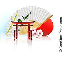décoratif, japonaise, fond