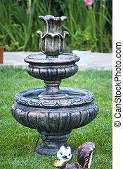 décoratif, jardin fontaine, statue