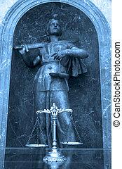 décoratif, justice, statue, balances