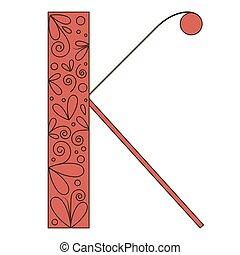 décoratif, k, forme., lettre, police, type