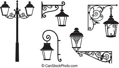 décoratif, lanternes, fer forgé